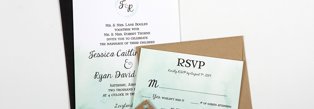 Ombre Watercolor Letterpress Invite set : Thorne