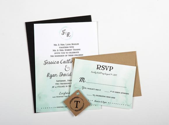 Ombre Watercolor Letterpress Invite set : Thorne