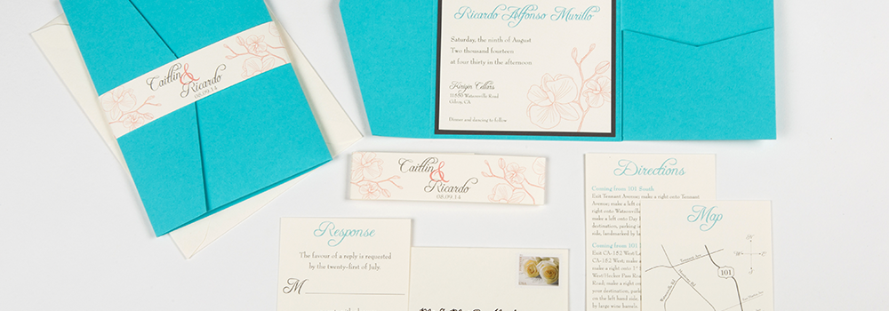 Teal & Coral Orchid Pocket Invite set : Murillo