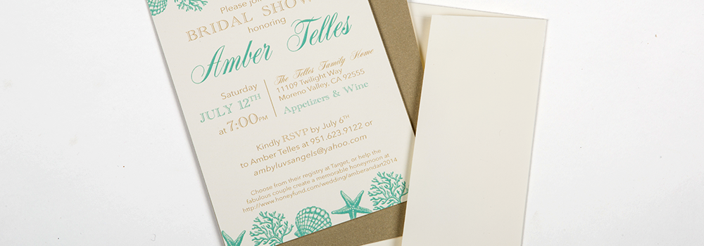 Sophisticated Beach Bridal Shower Invite : Telles