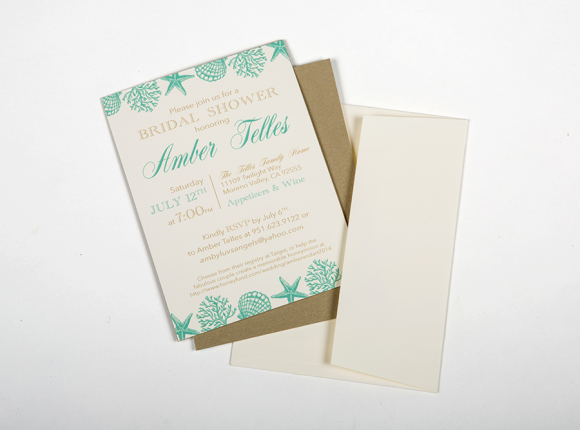 Sophisticated Beach Bridal Shower Invite : Telles