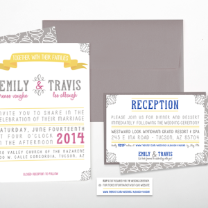 Raspberry, Blue & Yellow Wedding Invite set : Albaugh