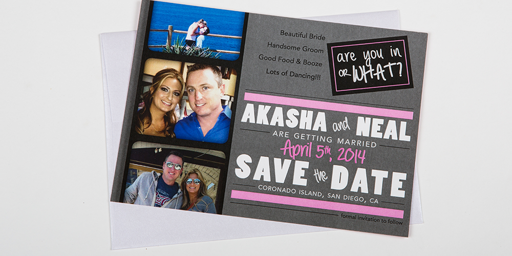 Pink & Grey Save The Dates : Dolan