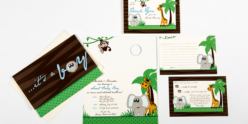 Zoo Animals Baby Shower Invite set : Lucido
