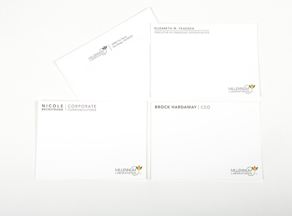 Letterpress Corporate Stationery : Millennium Labs
