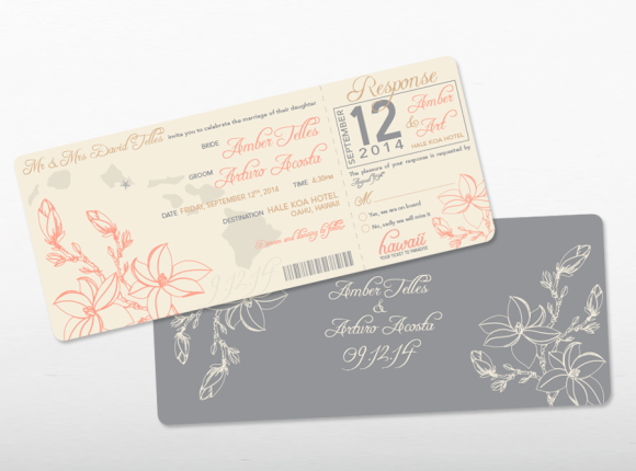 Boarding Pass Destination Wedding Invite set : Acosta