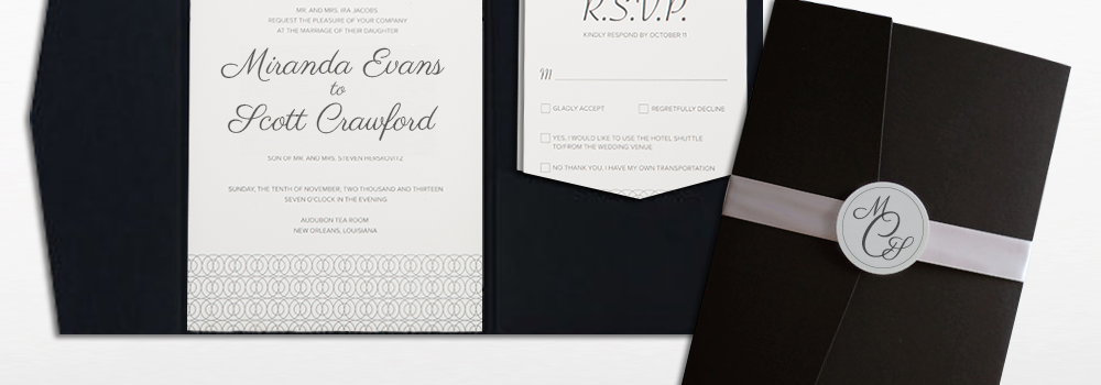 Black-Tie Affair Pocket Letterpress Invite set : Crawford
