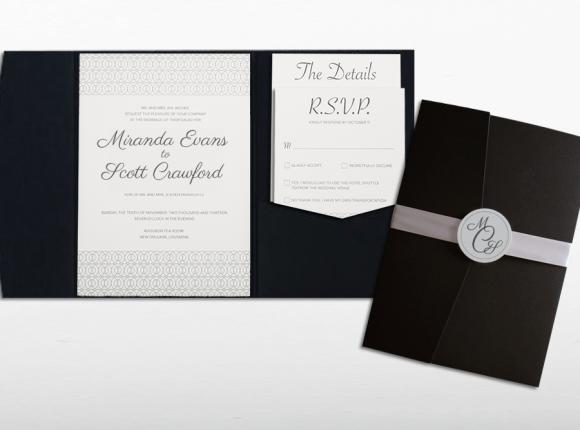 Black-Tie Affair Pocket Letterpress Invite set : Crawford