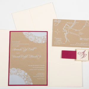 Rustic Chic White Ink on Recycled Paper Invite set : Maestri
