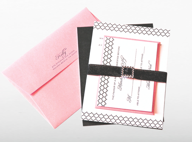 Letterpress with Pearlescent Pink Invite set : Dolan